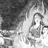 holika sitting in fire with bhakta pralhad